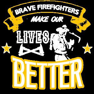 Mutige Feuerwehr, Helden Spruch,112 Shirt Geschenk