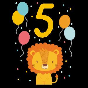 5. Geburtstag Geburtstagsshirt Löwe Fünfter Geb