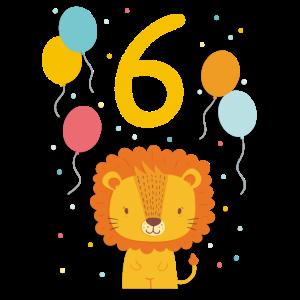 6. Geburtstag Geburtstagsshirt Löwe Sechster Geb