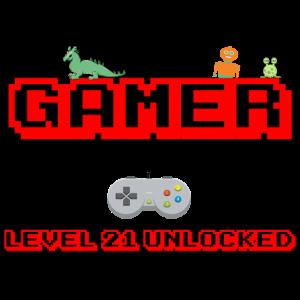 level 21 unlocked, zocker gamer geburtstag design