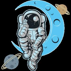 Astronaut Mit Planeten Wartet Und Denkt