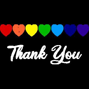 Herzreihe Regenbogen Herz Thank You - Danke