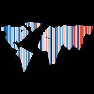 Weltkarte - Klimawandel - Warming Stripes - Erde