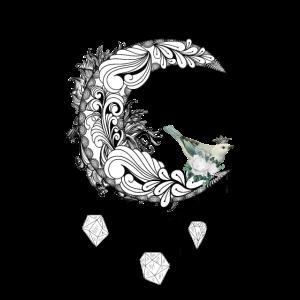 Eleganter Mond mit Vogel, Zentangle