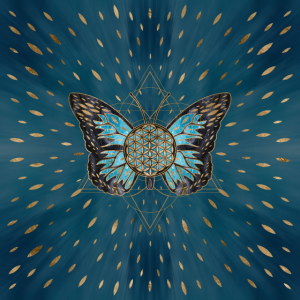 Blume des Lebens Schmetterling - Blauer Edelstein und Gold