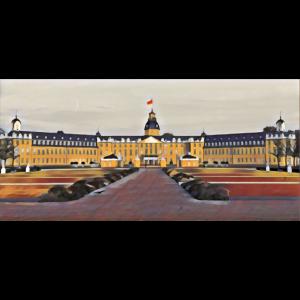 Karlsruher Schloss künstlerisch gemalt