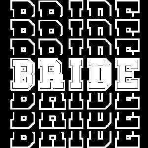 Bride. Braut. Schriftspiegelung 3D Schrift