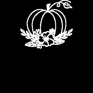Floral Pumpkin Line Art