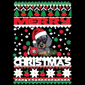 Hund Weihnachten Retro Dackel Heiligabend Shirt Ma