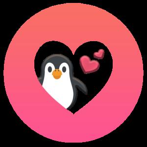 Pinguin Liebe - in Herzform mit Herzchen