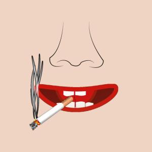 Maske mit Gesicht Raucher