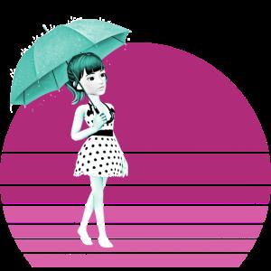 Retro Girl mit Regenschirm und Vintage Sonnenuntergang