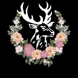Hirschkopf mit Blumen Dirndl Ersatz