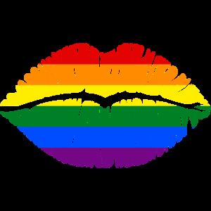Regenbogenfahne als Kussmund