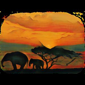 Retro Vintage Safari Sonnenuntergang Savanne