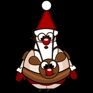 Weihnachtsmann mit Rentierschwimmreif