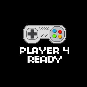 Controller Player 4 Ready Joypad T-Shirt 8 Bit