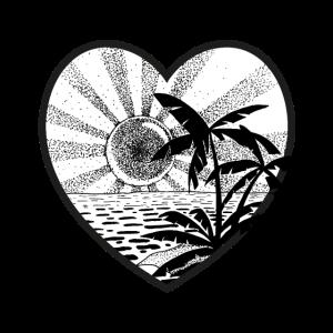 Sonnenuntergang mit Palmen (schwarz/weiss)