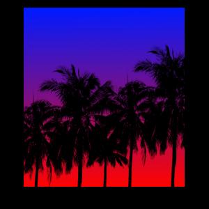Palmen Palme Sonnenuntergang Viereck Geschenk