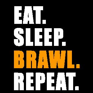 EAT SLEEP BRAWL REPEAT GESCHENK GAMER GAMING ZOCKE