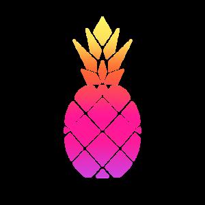 Ananas in Neon Optik in lila,pink,orange und gelb