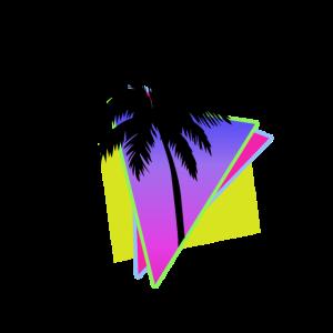 Palmen Retro 90er Vögel Sommer Sonne Lila Rosa