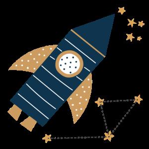 Rakete mit Sternen Weltall Kinder