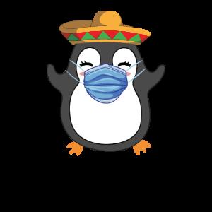 Pinguin mit Mundschutz Gesichtsmaske Corona Covid