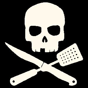 Grillschürze - Totenkopf mit Besteck