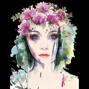 Aquarell ursprüngliches weibliches Gesicht