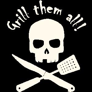 Grillschürze - Totenkopf - Grill them all