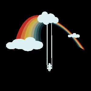 Regenbogenschaukel in den Wolken