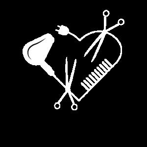Friseur Friseurin Herz Föhn Schere Kamm Geschenk