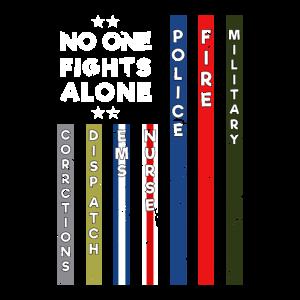 Niemand kämpft allein USA Flag Thin Line Military