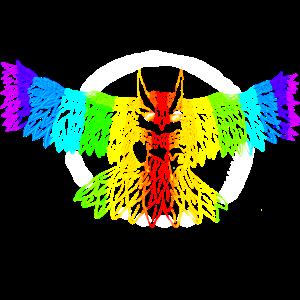 Shining rainbow Owl