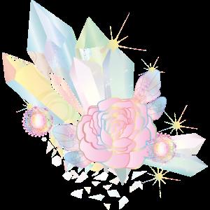 irisierende Kristalle mit Elfen Flügel und Rose