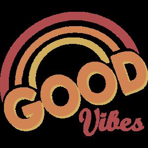 Good Vibes Rainbow Retro Vintage Summer Vibe