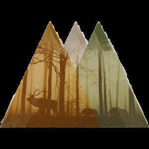 Drei Berge mit Wild
