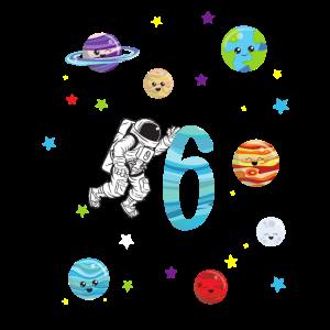 6. Geburtstag Astronauten Sonnensystem Geschenk