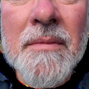 Kurzer grauer Bart