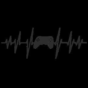 Gamer-Herzschlag Controller Zocker Computerspieler