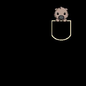 Wombat in Der Brusttasche Wombat T-Shirt
