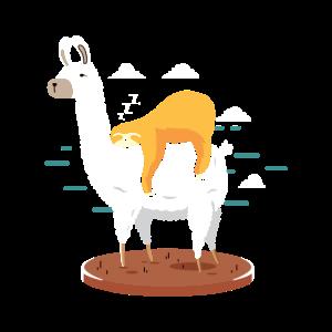 Faultier auf Lama/Alpaka