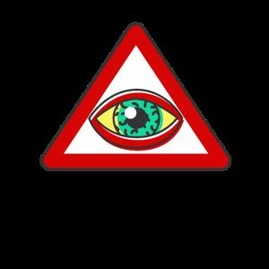 Augen Warnung Warnzeichen Lustig Geschenk