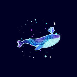 Blauwal mit Muster Pastellfarben