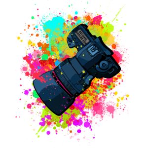 tolle Kamera mit Objektiv in Farbkleckse Geschenk