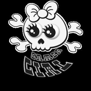 Niedliches Totenkopf Gamer Girl Shirt für Zocker