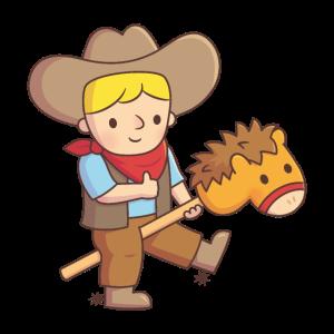 Netter kleiner Cowboy auf Toy Horse Stick