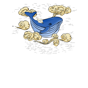 Molliger Wal mit kleinen Flügeln, Fliegt im Himmel