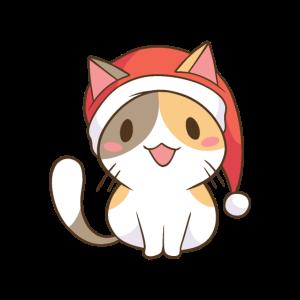 Santa Klaus Katze mit Weihnachtsmütze Weihnachten
